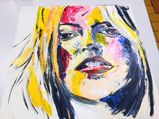 Picture of ladies face abstract style painting