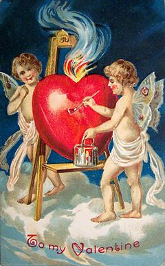 Valentine's card from 1909. Cupids and red heart. Credit Wikipedia