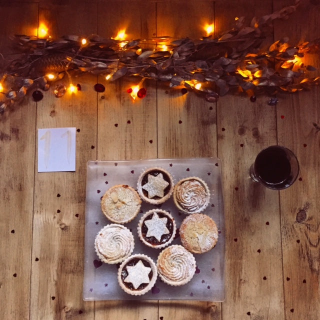 Advent Day 11 Table decoration mince pies fairy lights stars