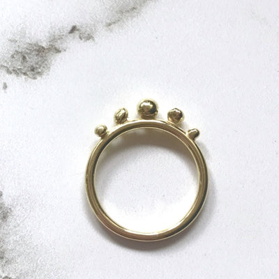 Custom gold ring with 5 gold balls