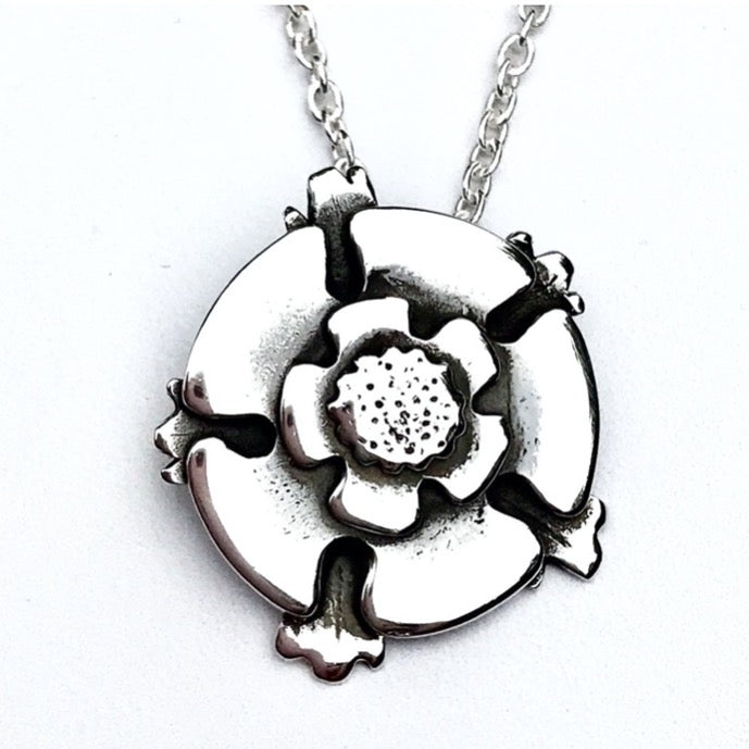 Bespoke design Yorkshire Rose Silver Necklace