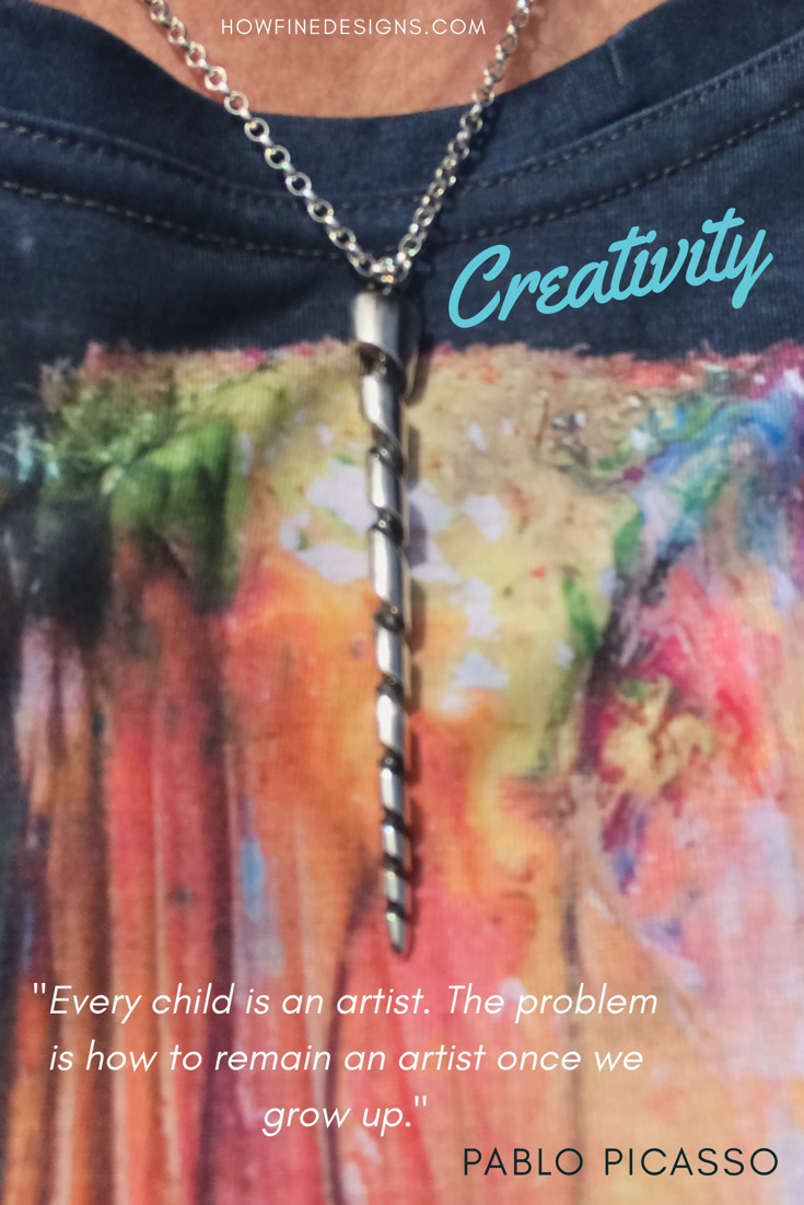 "Inspiring Quote about creativity. ""Every child is an artist. The problem is how to remain an artist once we grow up"" Pablo Picasso. Unicorn necklace by How Fine Designs"