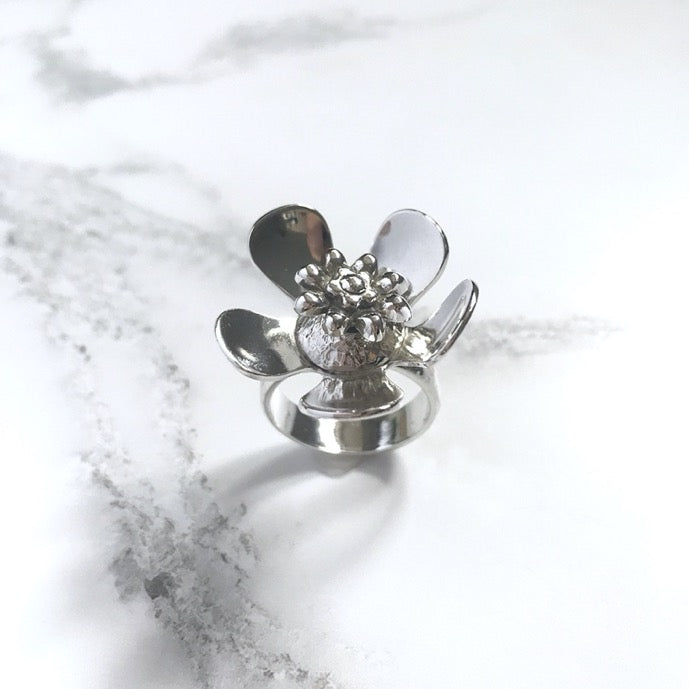 Custom Silver spinning flower ring