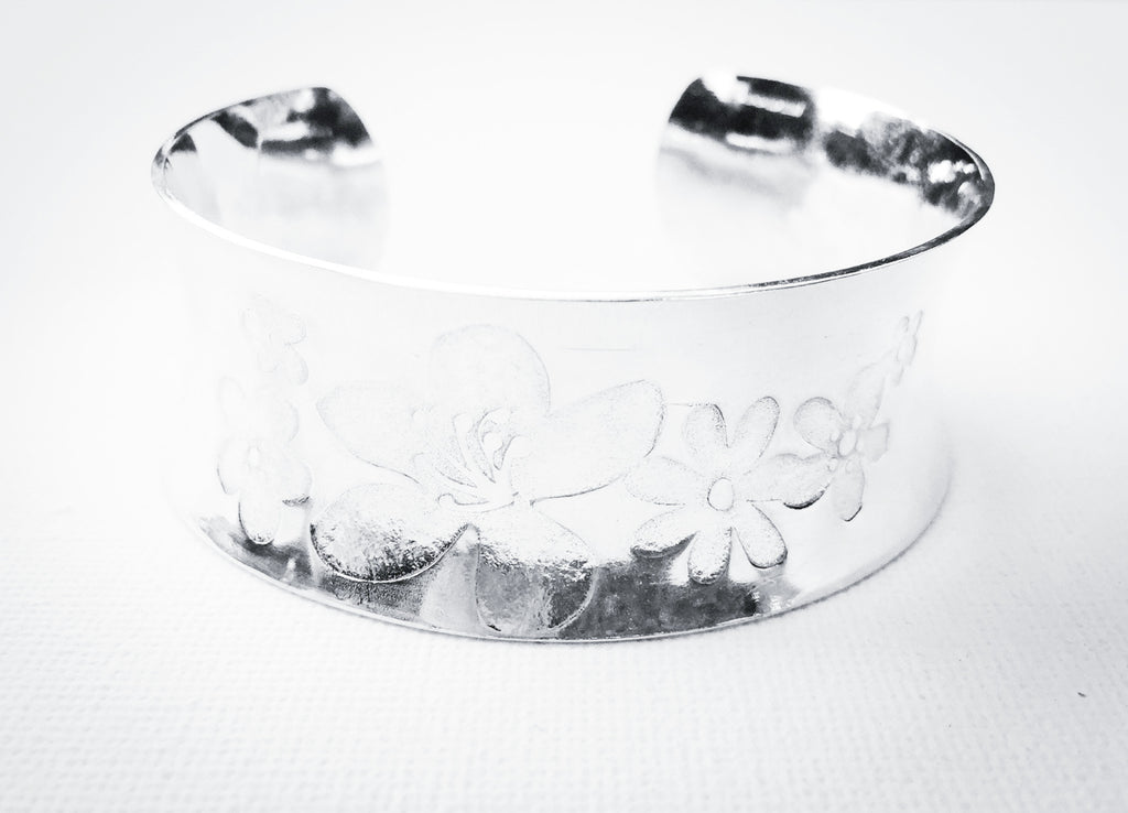 Fairly Flowery Bangle Silver Cuff Bracelet