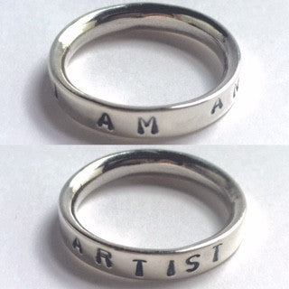 Hand stamped I am an artist silver ring word of the year other words can be chosen