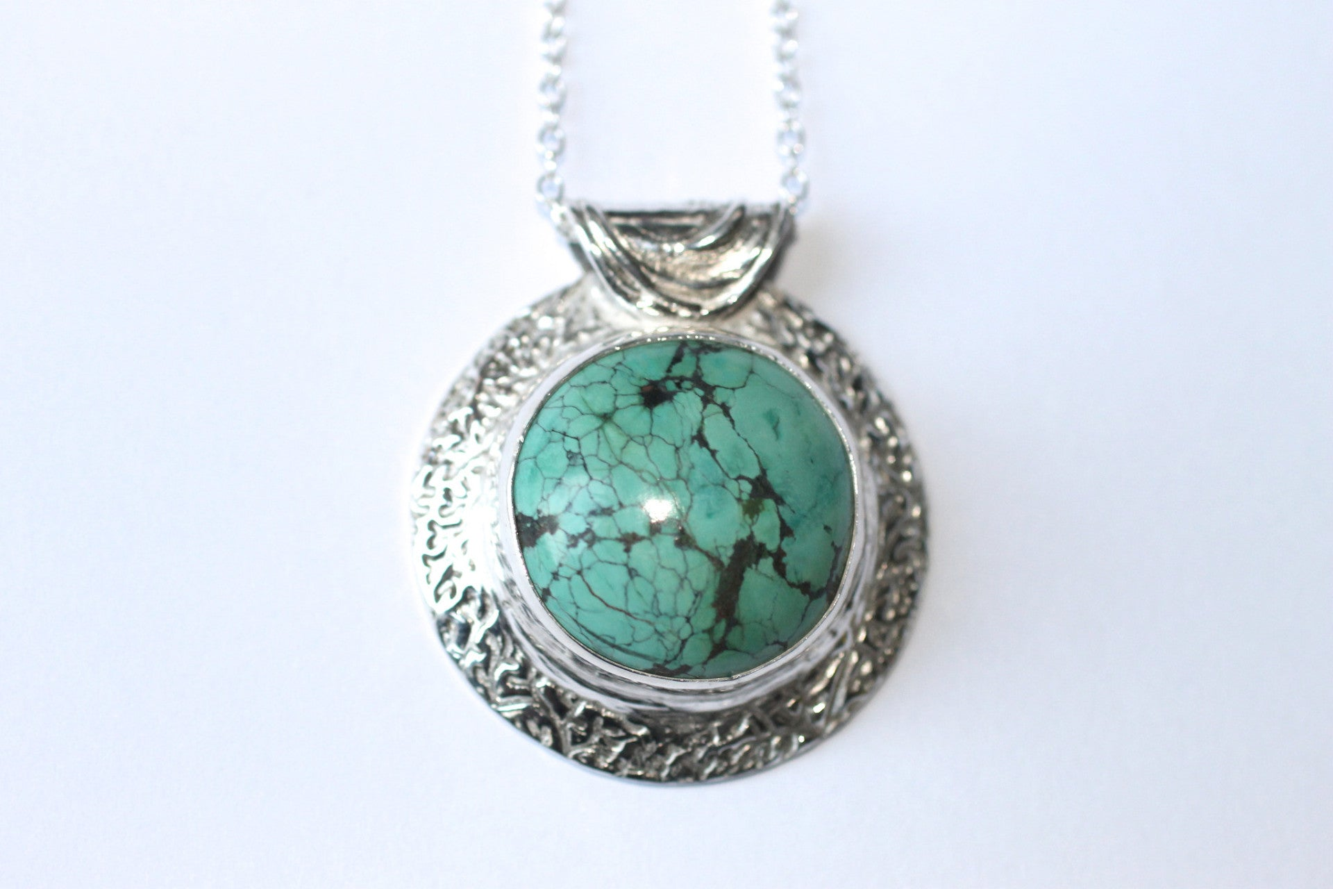 Planetary Necklace Fine Silver Chinese Turquoise
