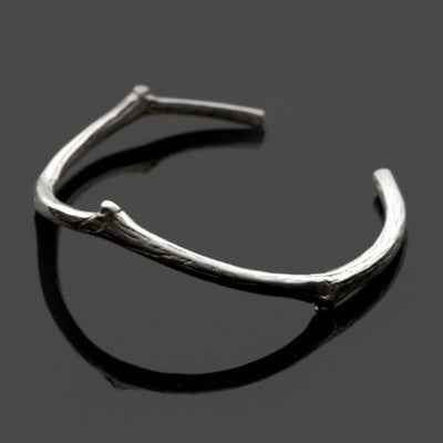 This twig silver bracelet nature bangle