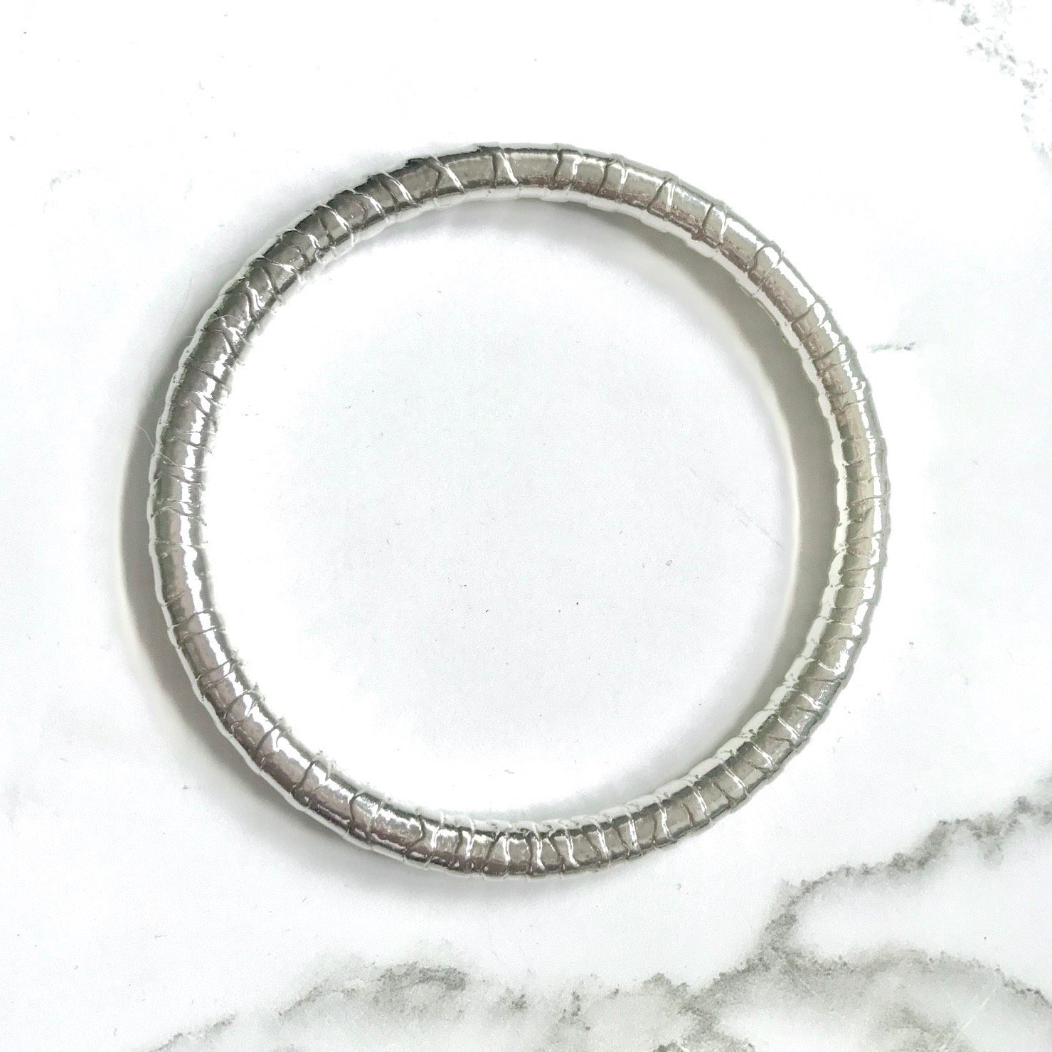 Zebra striped Sterling silver bangle