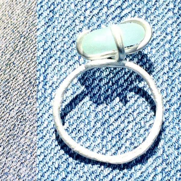 Beach Dreams Ring Silver tumbled sea glass