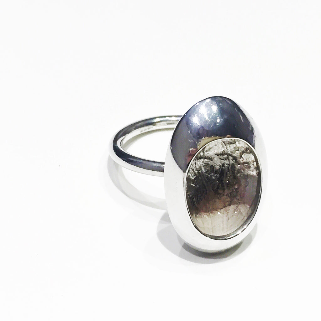 Large Pod Ring Silver Contemporary