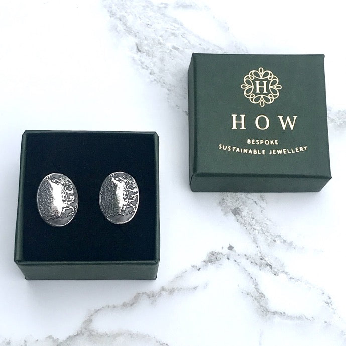 Bespoke Commission Silver Custom Cufflinks with Map