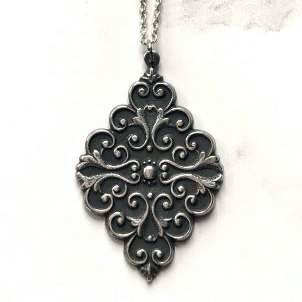 Baroque blackened silver necklace