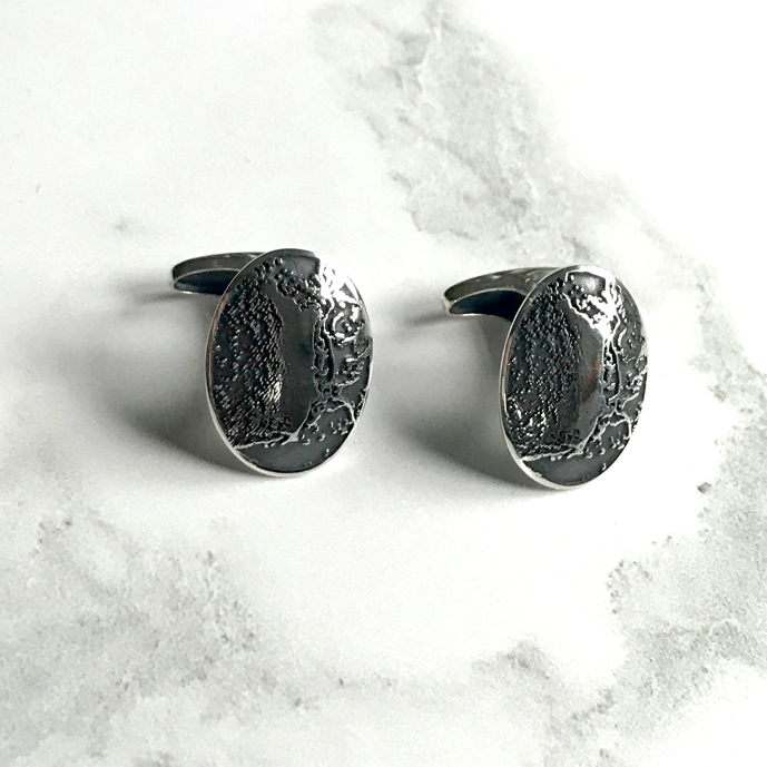 Silver Custom Cufflinks with map
