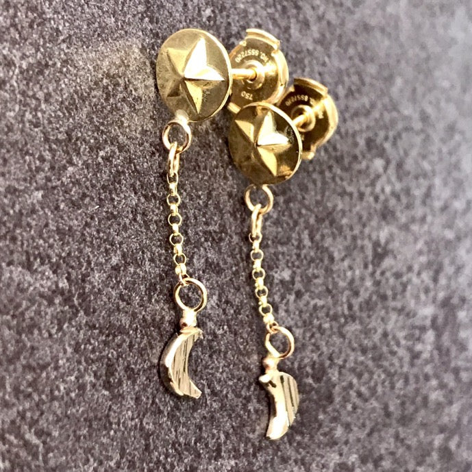 Custom gold earrings using 18ct yellow and 18ct white gold