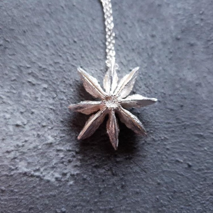 Silver night star necklace