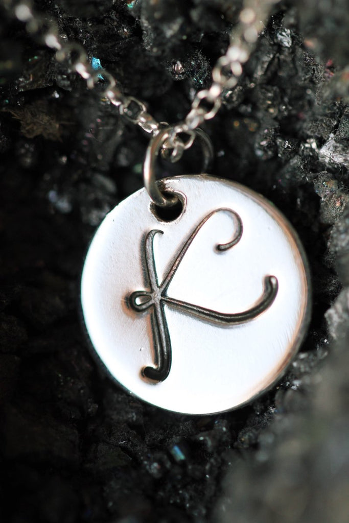 Silver Initial Monogram necklace on a silver chain all letters a to z