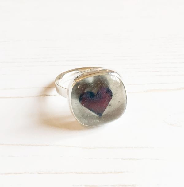 Queen of hearts glass and silver heart ring