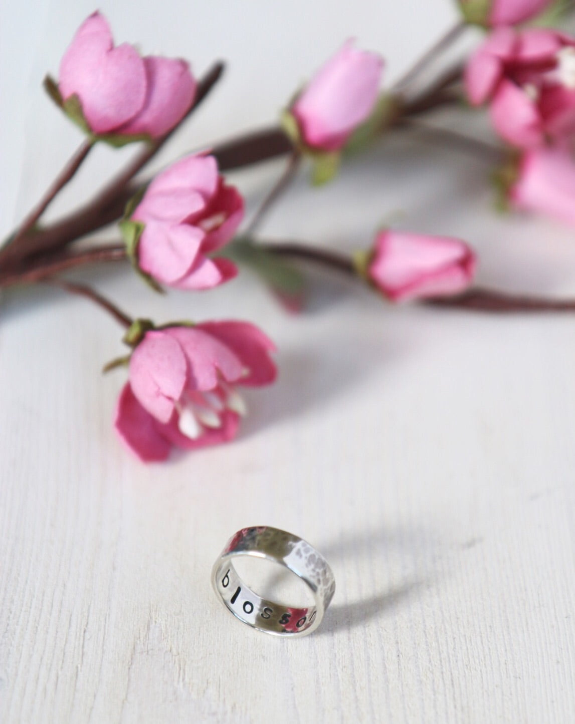 Word of the Year ring 'blossom' with handmade paper blossom by Papertree
