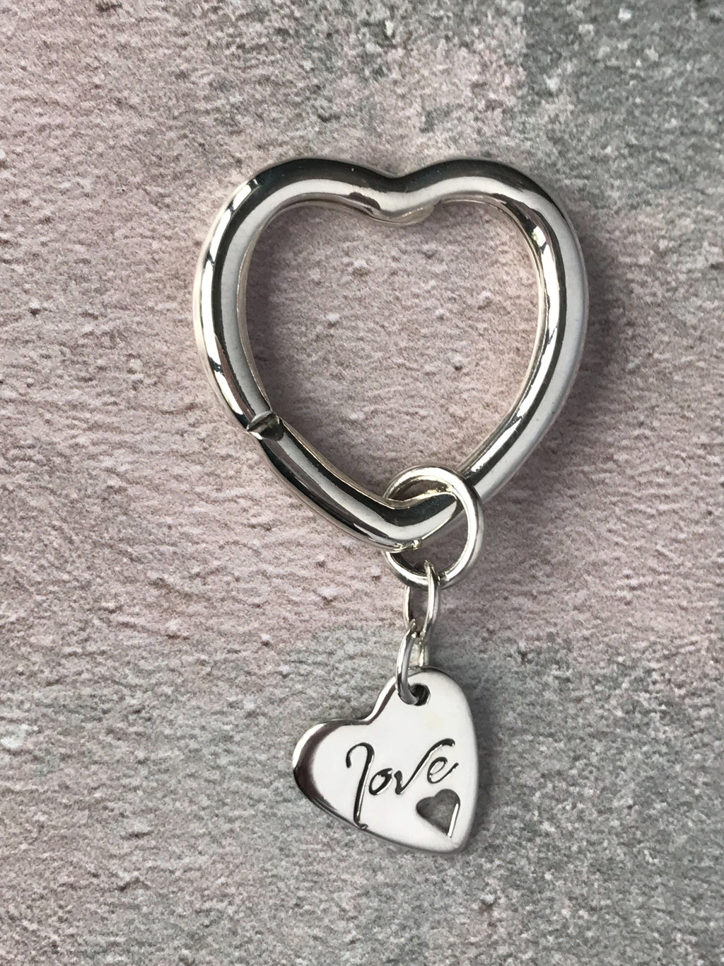 Love Heart Silver Keyring