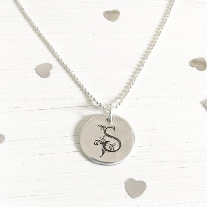 Silver Initial monogram letter necklace