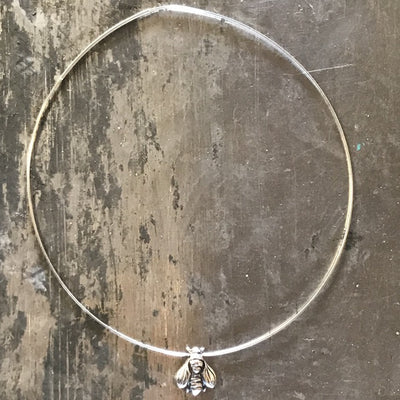 Bee silver necklace handmade choker