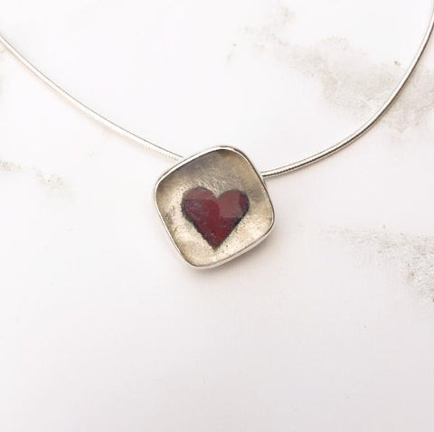 Queen of Hearts silver and glass heart pendant
