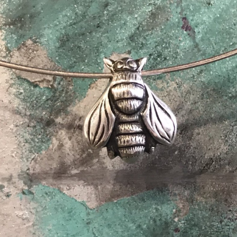 Bee necklace silver choker style