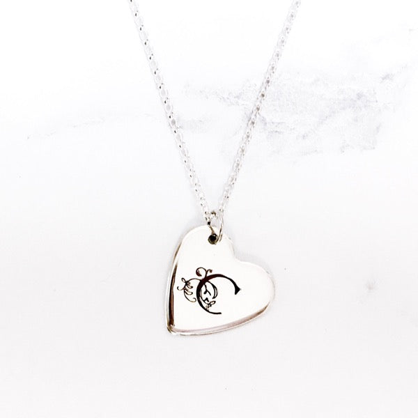Silver Monogram Initial Heart Necklace