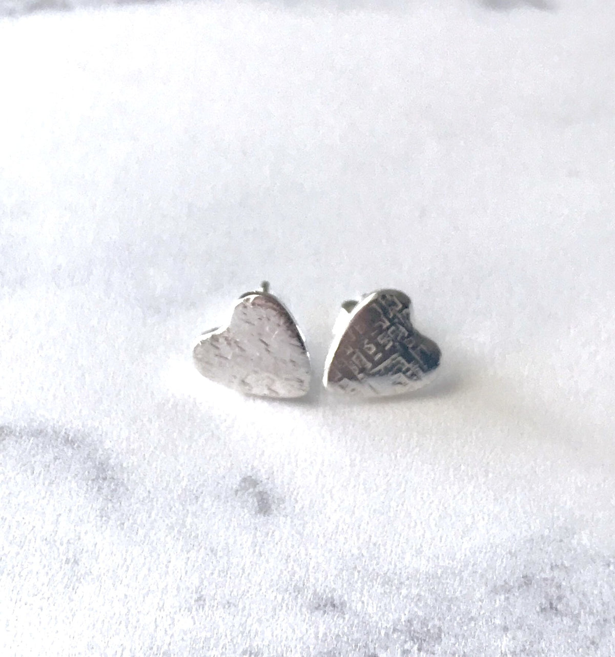 Silver heart earrings studs