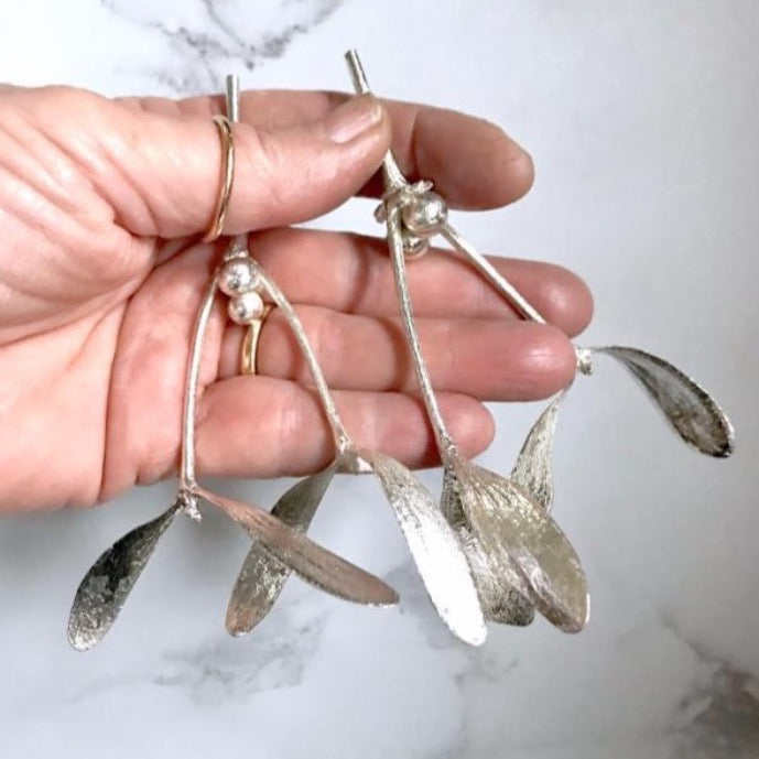 Real silver mistletoe decorations