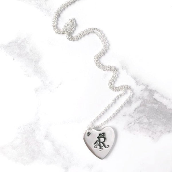Initial Monogram Silver Heart Name Letter Logo Necklace