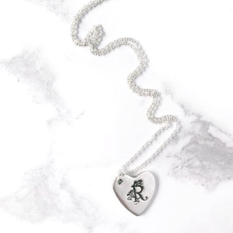 Silver Heart with Initial Monogram Letter Necklace