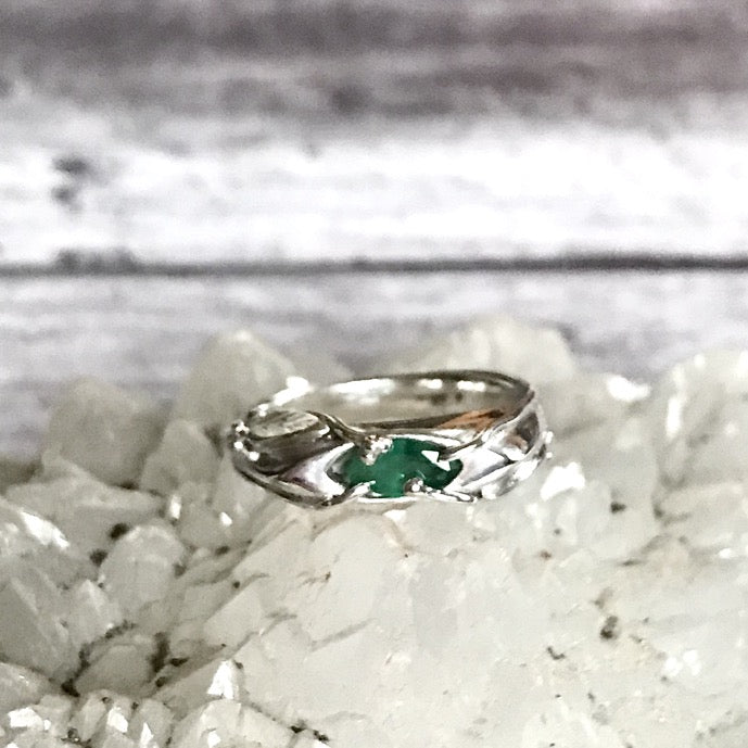 Bespoke design Sterling Silver Emerald ring with mossy marquise emerald and vine leaves design