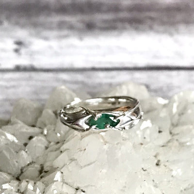 Sterling Silver Emerald ring with mossy marquise emerald and vine leaves design