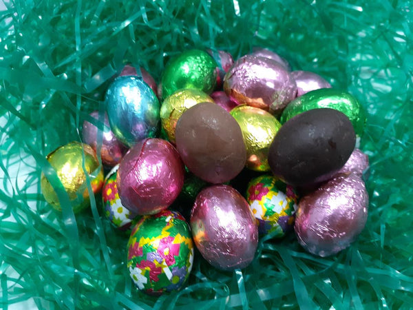 Solid Chocolate foil wrapped mini eggs