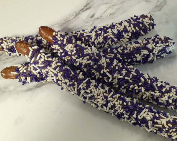Milk Chocolate Pretzel Rods with Purple and White Sprinkles