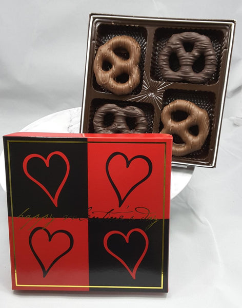 Chocolate Covered Pretzels in Valentine's Day Packaging