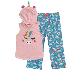 Popular Girl's Hooded Sleeveless Top and Bottoms - 2pc Pajama Matching Set