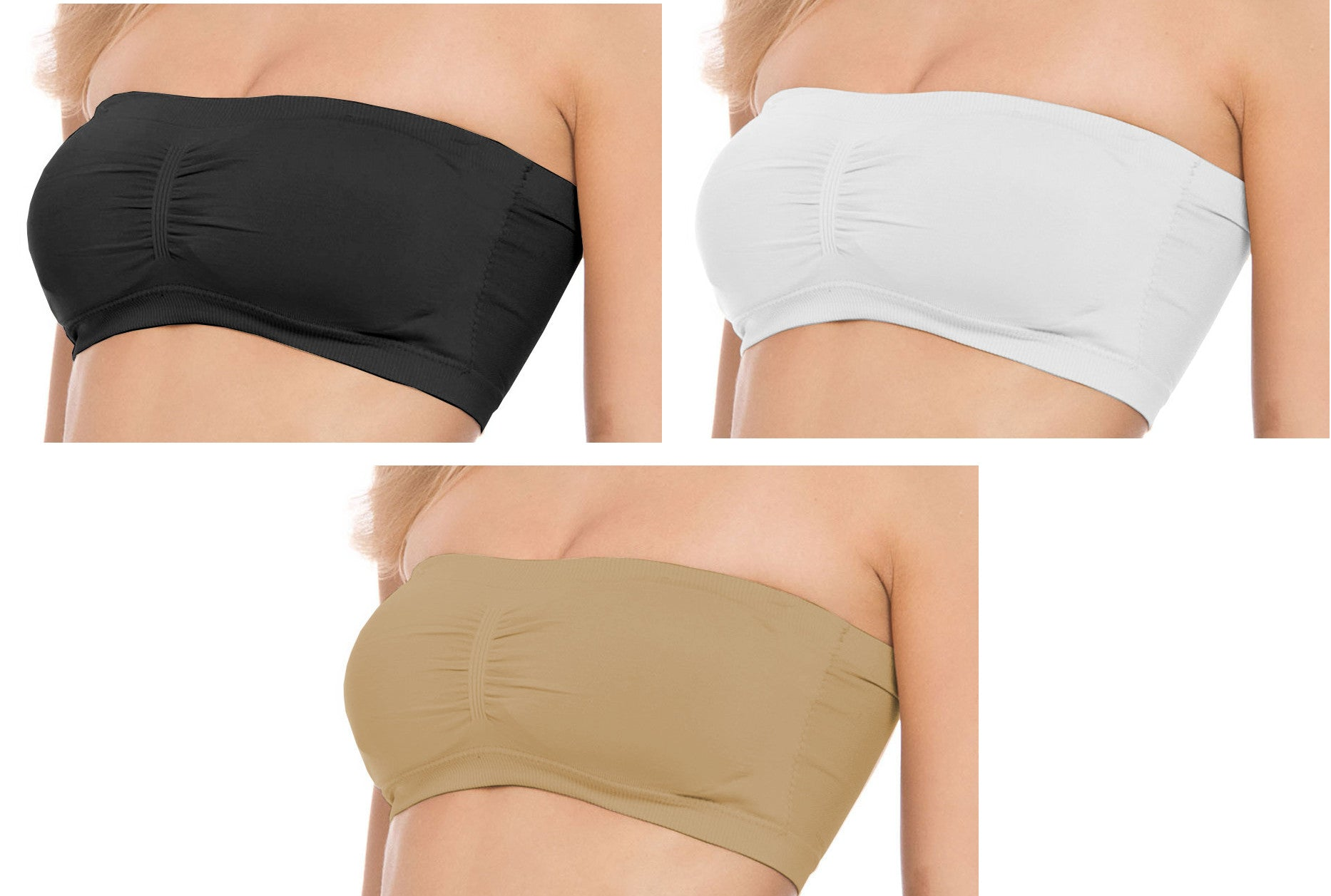 Women's Seamless Bandeau Tube Bra with Removable Padding - Small to Plus Size