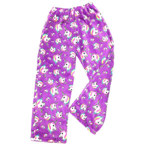 kids fuzzy pants, girls fuzzy pajama pants, fleece pajama pants, girls fuzzy camp pajamas, girls fuzzy unicorn pants