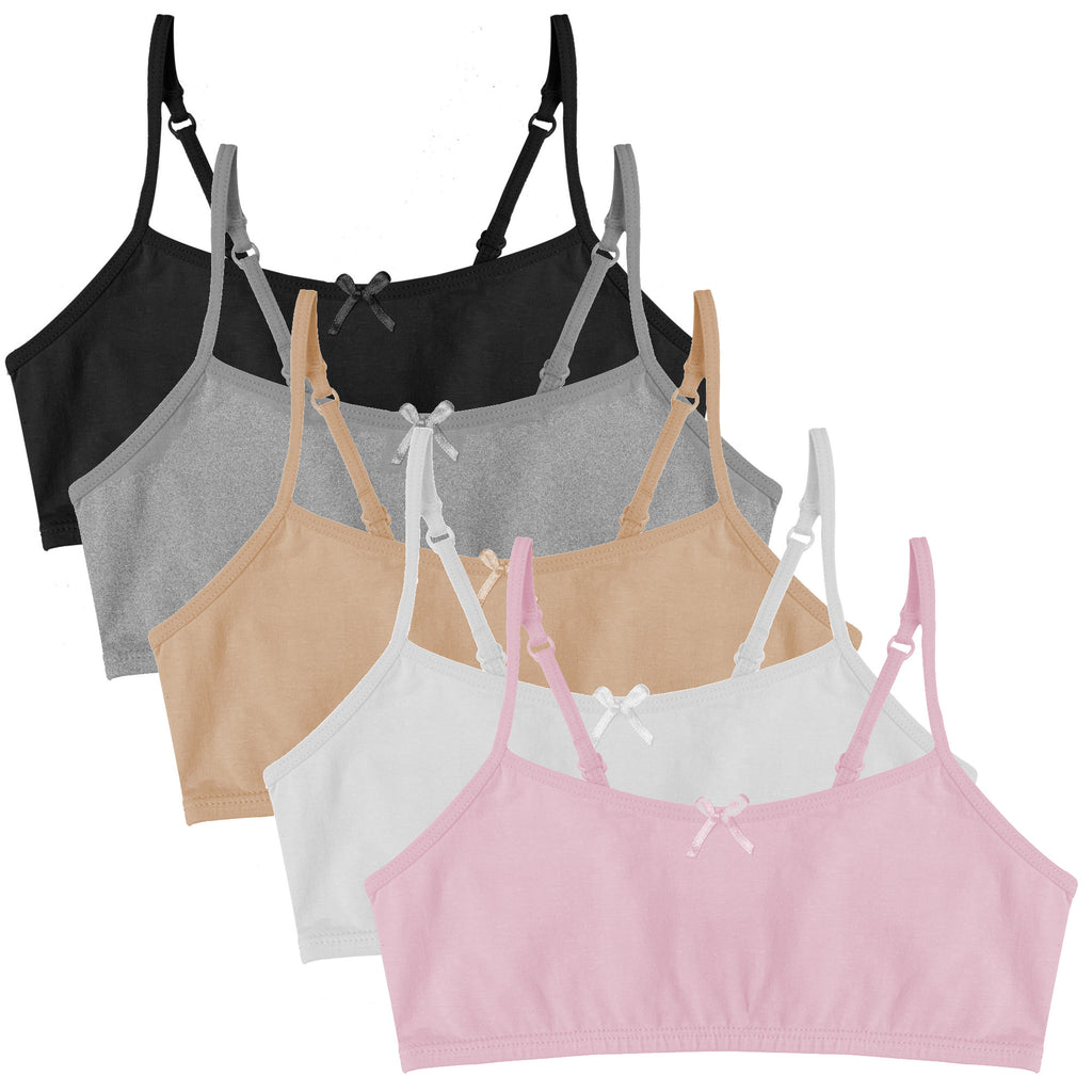 Popular Girl's Cotton Cami Crop Bra with Adjustable Straps - 5 pack