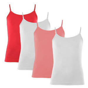 4 Pack White, Pink, Red