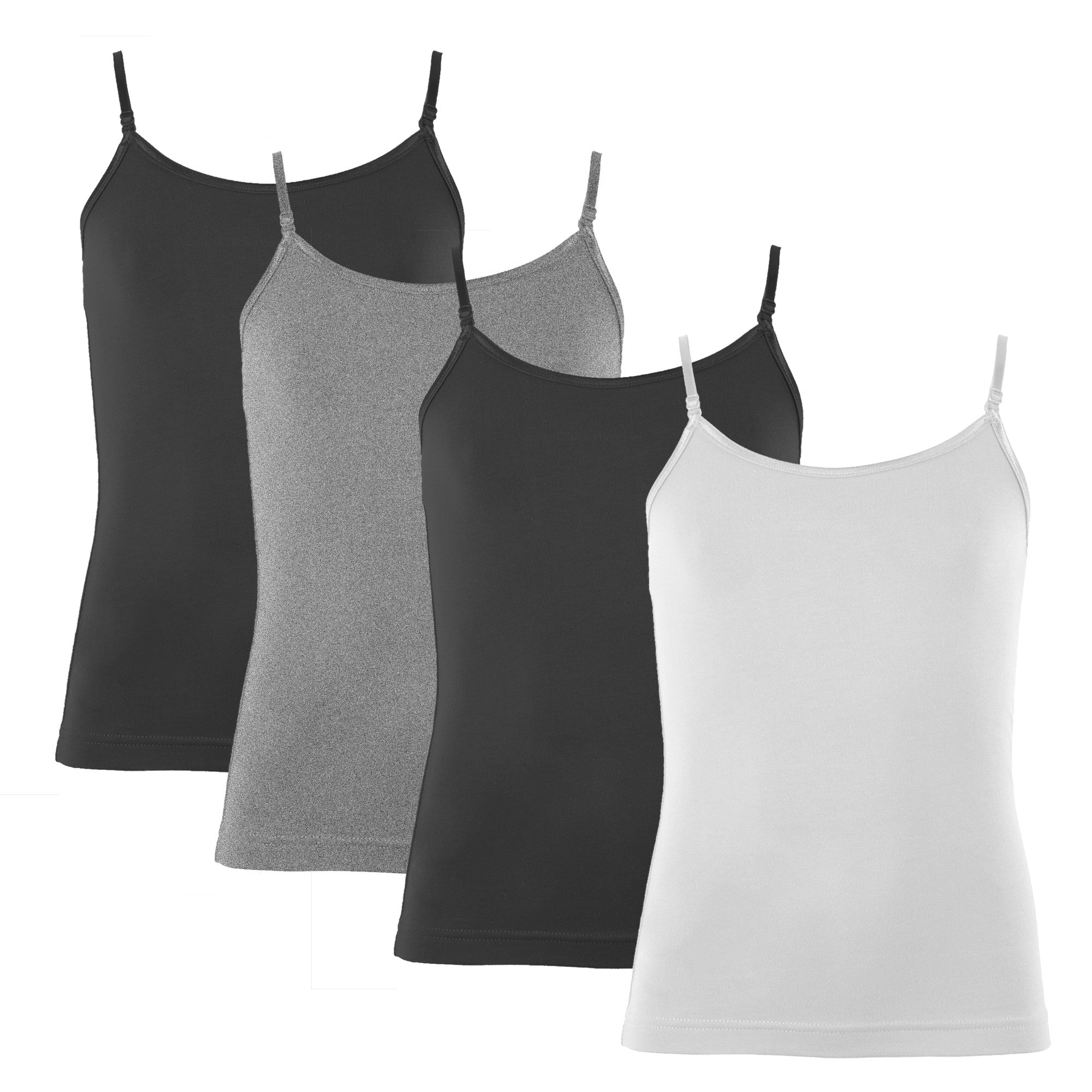 Popular Girl's Cotton Camisole with Adjustable Straps- 4 Pack