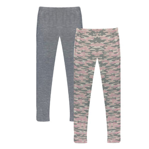 Pink Camo and Solid Heather Grey
