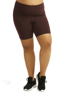 Womens Bike Shorts,Womens plus size shorts,Womens plus size activewear,Womens Brown Bike Shorts,Womens plus size workout clothes