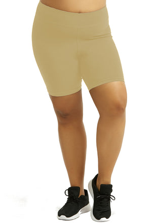 Womens Bike Shorts,Womens plus size shorts,Womens plus size activewear,Womens Khaki Bike Shorts,Womens plus size workout clothes