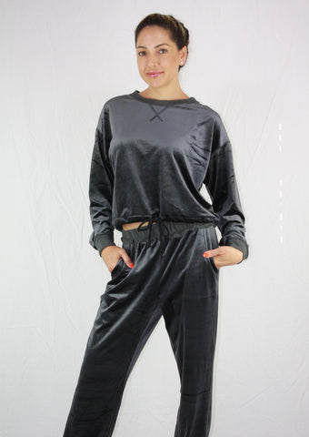 Charcoal Velour Casual