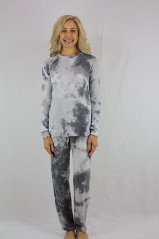 Grey White Tie Dye Crewneck Top