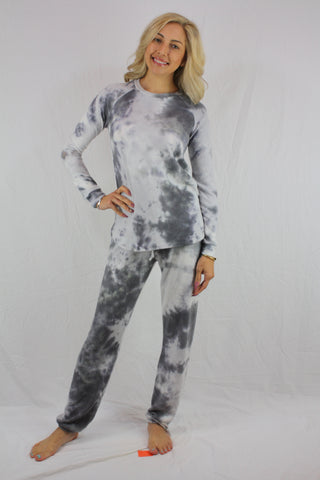 Grey White Tie Dye Crewneck Set