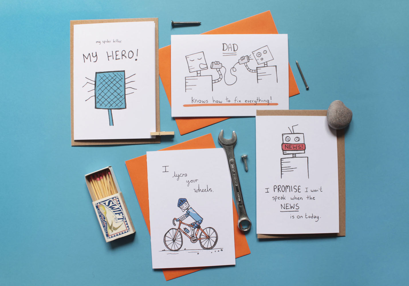 Mum & Dad Greeting Cards Debmon Design Flat Lay